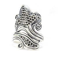 Серебряное кольцо Лилия с черными фианитами Арт. RN017SV (18.5), фото 2
