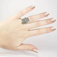 Серебряное кольцо Лилия с черными фианитами Арт. RN017SV (18.5), фото 3