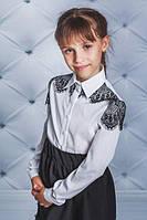 Рубашка школьная с кружевом белая