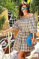 Короткое платье Барбери в клеточку с оборкой по низу