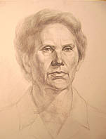 """Картина на бумаге карандашом """"Портрет пожилой женщины"""""""