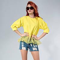Блузка с прозрачной баской one size