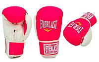 Перчатки боксерские Стрейч на липучке ELAST UR LV-5376-P (р-р 8-10oz, розовый-белый)