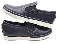 Туфли-слипоны подростковые натуральная кожа черные и синие 32-39 размеры Uk0456