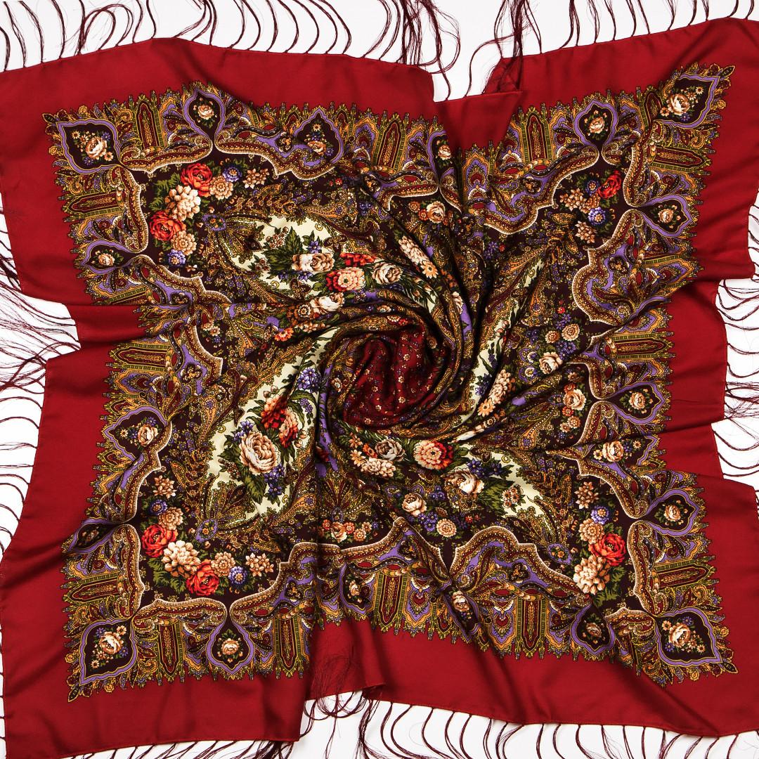 Бордовый павлопосадский платок Рубина