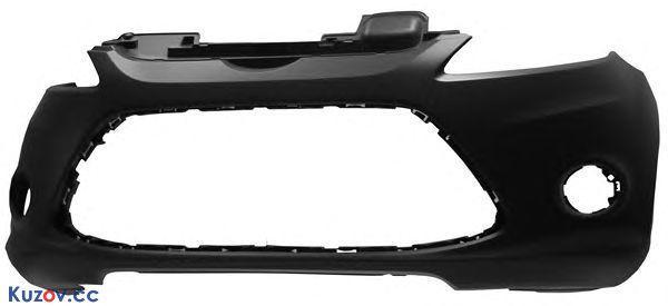 Передний бампер Ford Fiesta 09- черный, с отв. ПТФ (FPS)