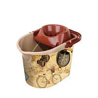 Ведро МОП для швабры с отжимом, с деколью Башня, 29,5x41,5x30см  , 13л Elif plastik 381-11LF