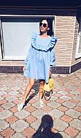 Хлопковое свободное платье с оборками В20815