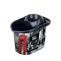 Ведро МОП для швабры с отжимом, с деколью Лондон, 29,5x41,5x30см , 13л Elif plastik 381-9LF