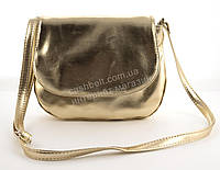 Аккуратная женская стильная сумка почтальонка Габриэлла art. золото металик Sg Украина (100079)