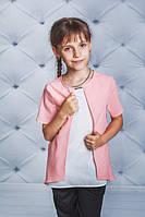 Блуза для девочки белый + персик