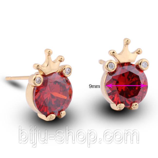 Серьги Корона с камнем, позолота 14К, швейцарские кристалы