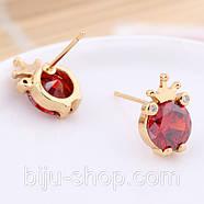 Сережки Корона з каменем, позолота 14К, швейцарські кристали, фото 2
