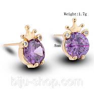 Сережки Корона з каменем, позолота 14К, швейцарські кристали, фото 3