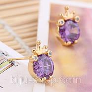 Сережки Корона з каменем, позолота 14К, швейцарські кристали, фото 4