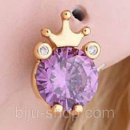 Сережки Корона з каменем, позолота 14К, швейцарські кристали, фото 5