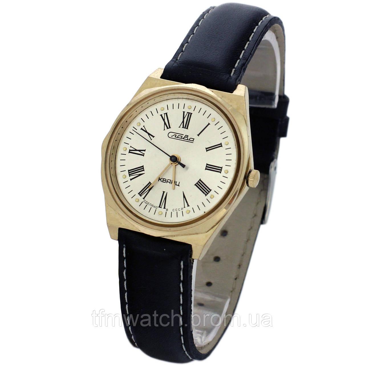 Позолоченные часы Слава кварц сделано в СССР - Магазин старинных, винтажных  и антикварных часов TFMwatch c9b4dd3fa78