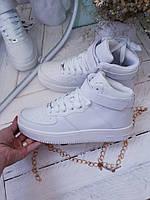 Женские кроссовки белые высокие  Nike Air Force найк форс (копия)