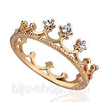 Кольцо Корона, позолота 14К