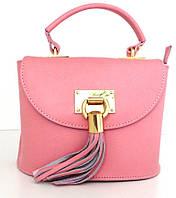 Жіноча маленька сумочка . Італія 100% натуральна шкіра . Рожева, фото 1