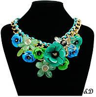 "Ожерелье ""Букет"" зелено-синее"