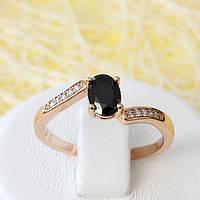 002-2613 - Кольцо розовая позолота чёрный и прозрачные фианиты, 17 р.
