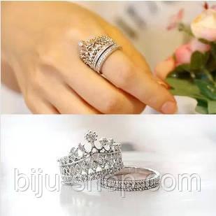 Кольцо Корона Винтаж, 2 шт. посеребрение