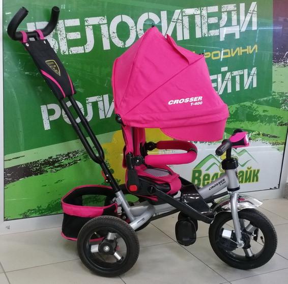 Велосипед дитячий 3-х колісний CROSSER T-400 спинка 180° надувні колеса, колір рожевий