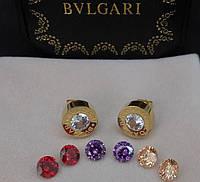 Серьги Bvlgari с цветными кристаллами