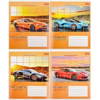 Тетрадь цветная 24 листов,клетка «Спортивные автомобили»