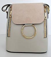 Жіноча маленька сумочка . Італія 100% натуральна шкіра . Бежева, фото 1