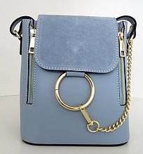 Жіноча маленька сумочка . Італія 100% натуральна шкіра . Голуба
