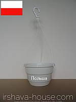 Подвесной горшок (дм20) 2.5 л с подвесом  KLODA (белый)
