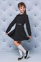 Красивое, школьное, модное платье с поясом, цвет  черный   рост - 122, 128, 134, 140, 146, 152