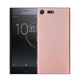 Чехол накладка для Sony Xperia XZ Premium G8142 силиконовый, Carbon Fiber, Золотисто-Розовый