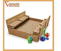 Деревянная детская песочница с крышкой