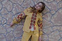 Бомбер вышиванка желтый, вышивка красно-серая