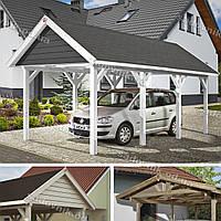 Деревянный навес для автомобиля с двускатной крышей для дачи и частного дома 46