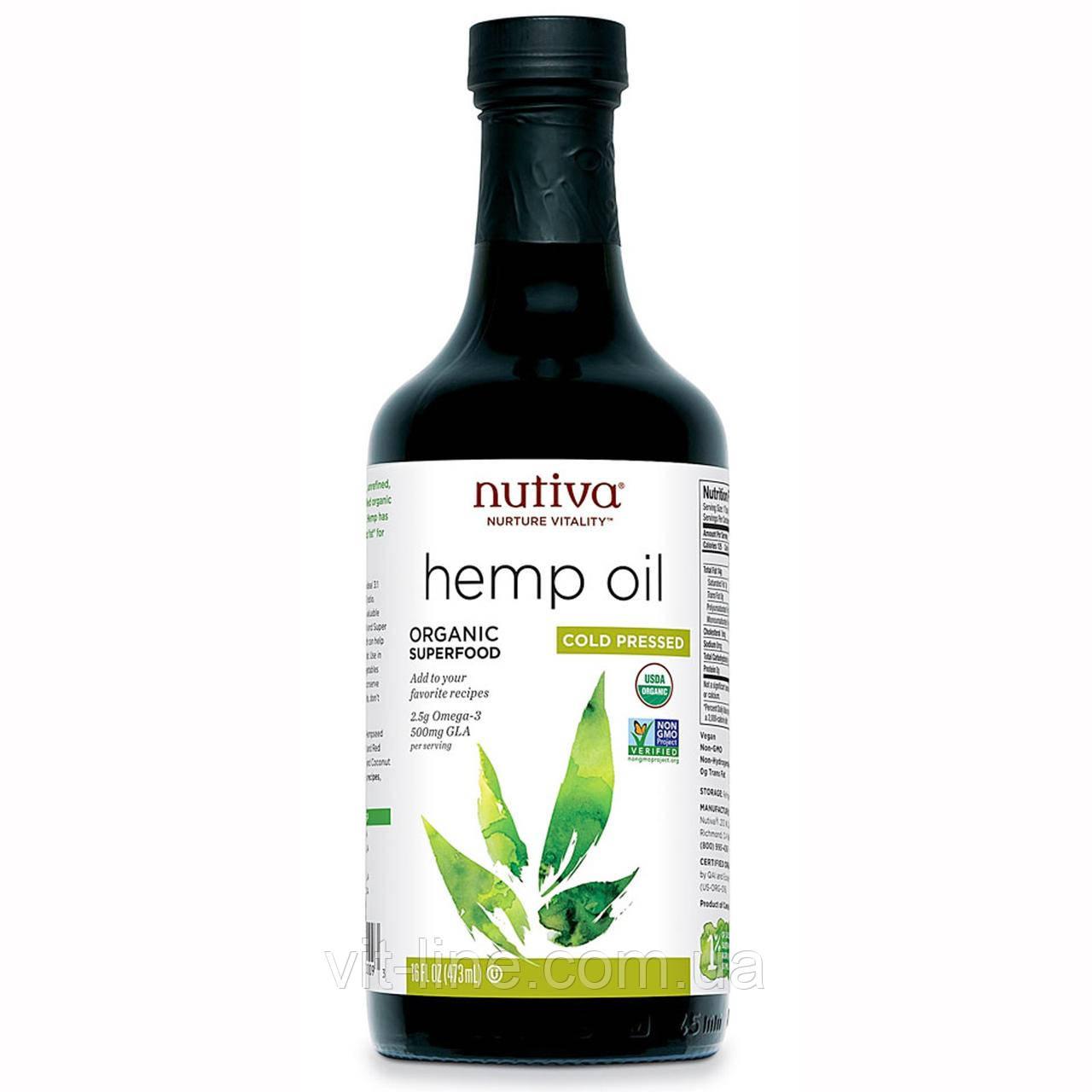 Nutiva, Органічне конопляна олія холодного віджиму, (473 мл)