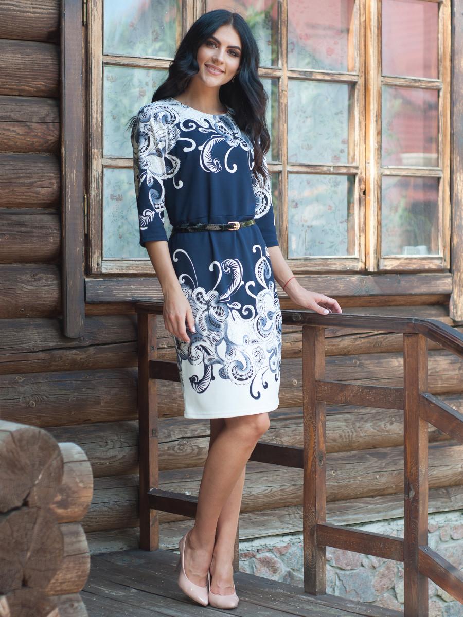 """Нарядное женственное платье с узором """"Амина"""" 52"""