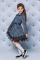 Красивое, школьное, модное шерстяное платье в клеточку на девочку рост - 122, 128, 134, 140, 146, 152