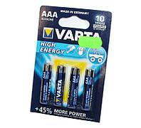 Батарейка AAA (LR03), щелочная, Varta High Energy, 4 шт, 1.5V, Blister (04903121414)