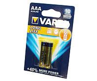 Батарейка AAA (LR03), щелочная, Varta LongLife, 2 шт, 1.5V, Blister (04103101412)