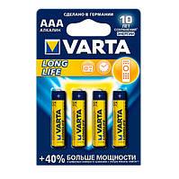 Батарейка AAA (LR03), щелочная, Varta LongLife, 4 шт, 1.5V, Blister (04103101414)