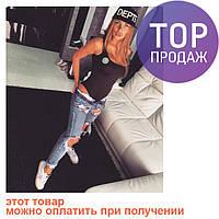 Женский боди - топ, коттон с эластином, черное / боди женское STAR, красивое / БОДИ ЛЕТО