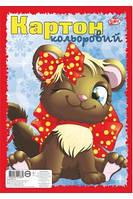 Картон цветной Ф-А4  8 листов ТМ Бріск ( блок 8 цветов, обложка полноцв.,мелован., картон + ВД-лак) УВ-7 Бриск