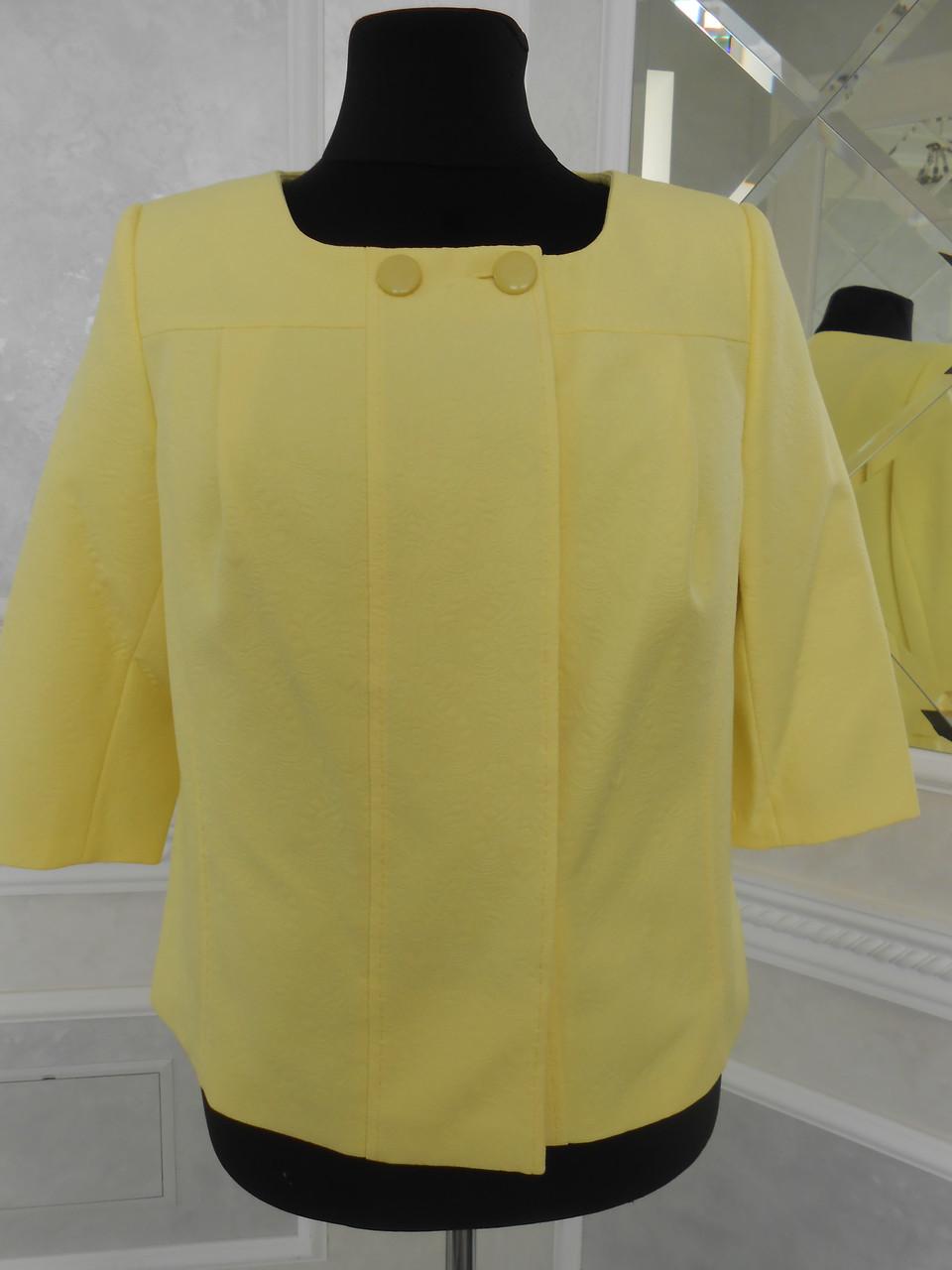 Жакет женский летний нарядный желтый на подкладке большого размера 56