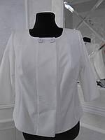 Жакет женский летний нарядный белый на подкладке большого размера