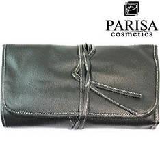 Parisa Набор кистей для макияжа Black (24шт) черные, кожа с завязками 21536
