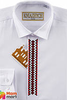 Школьная рубашка для мальчика Kniazhych Вышиванка Slim, цвет белый с красным